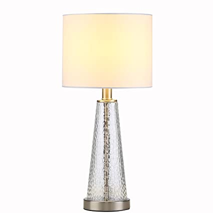 Contemporary End Side Bedside Table Lamp Textured Mercury Stained ...