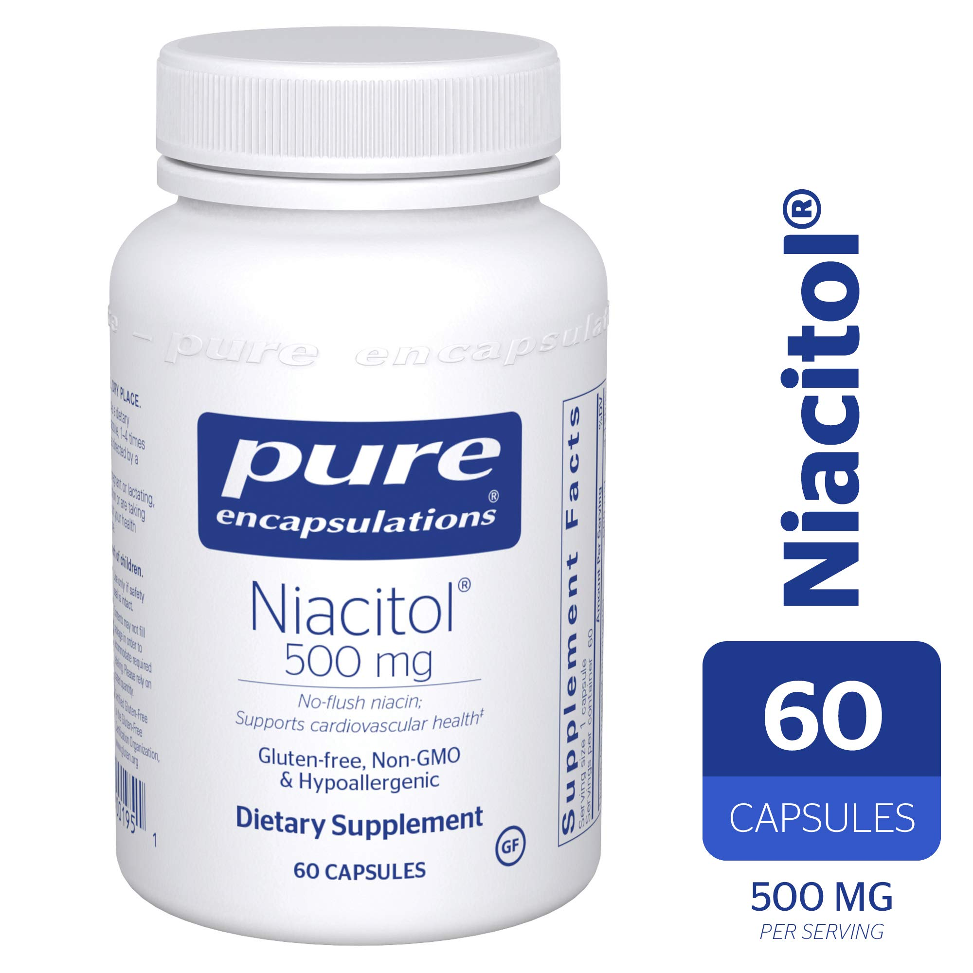 Pure Encapsulations - Niacitol 500 mg - Hypoallergenic No-Flush Niacin to Support Digestion, Hormone Synthesis, and Tissue Formation* - 60 Capsules