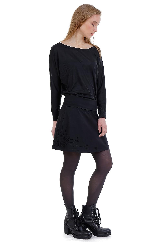 3Elfen Falda de dama en algodón negro com estampados flores, praderas y viento elfos, falda dama