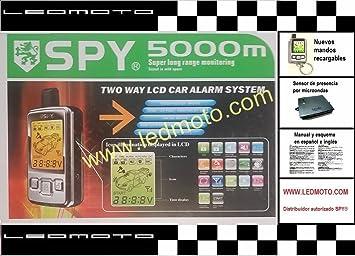 Alarma para coche SPY 5000M (Modelo F10S 2016) con sensor de presencia microondas: Amazon.es: Electrónica