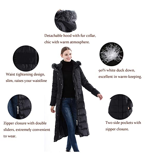 f48310c4728 Obosoyo Women's Hooded Thickened Long Down Jacket Maxi Down Parka Puffer  Coat: Amazon.ca: Clothing & Accessories