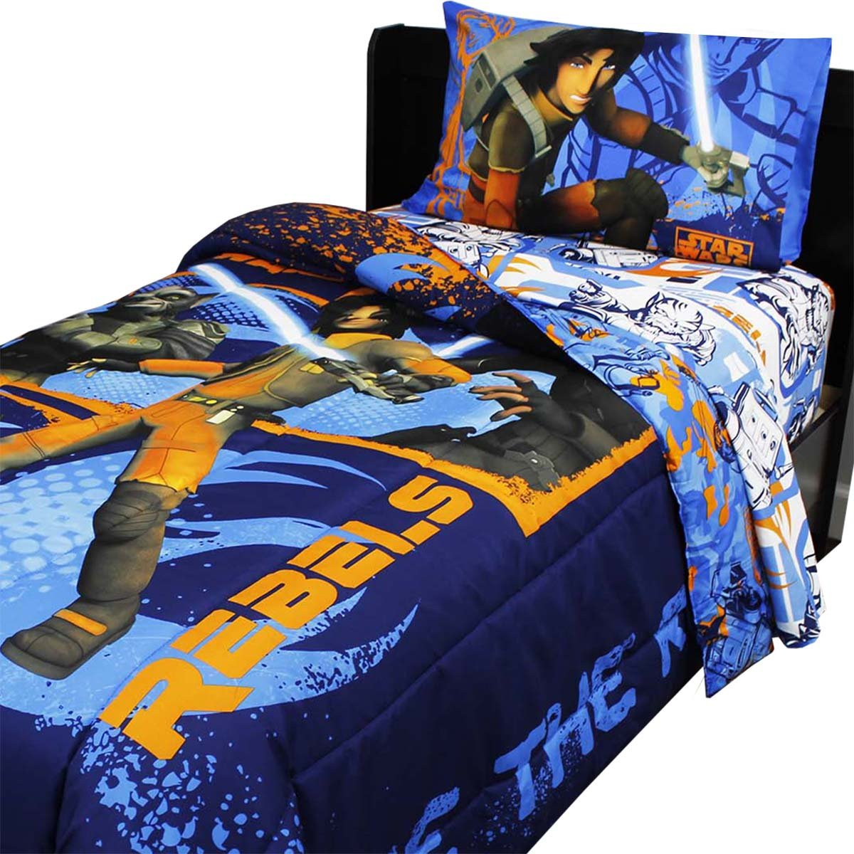 4pc Star Wars Twin Bedding Set Rebels Fight Comforter and Sheet Set