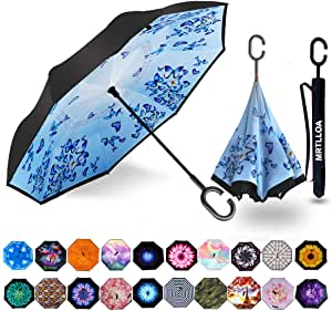 Reverse Umbrella Double Layer Inverted Umbrellas For Car Rain Outdoor With C-Shaped Handle Watercolor Vintage Butterfly Seamless Pattern Personalized