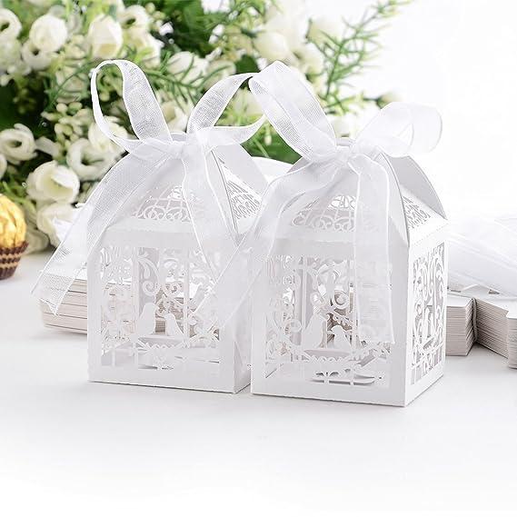 PONATIA 50 PCS amor corazón amor pájaros corte láser de dulces cajas de regalo con el favor de la boda de la cinta (blanco): Amazon.es: Hogar