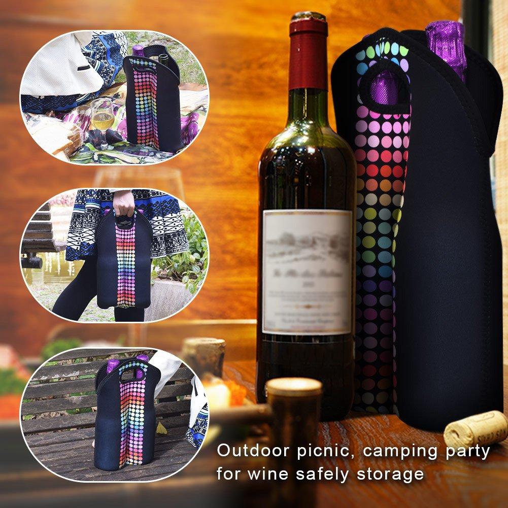 Zoresyn 4-Bottle Wine Bag Neoprene Drink Carrier Bag Wine Tote Liquor Bags for Champagne Red Wine Beer