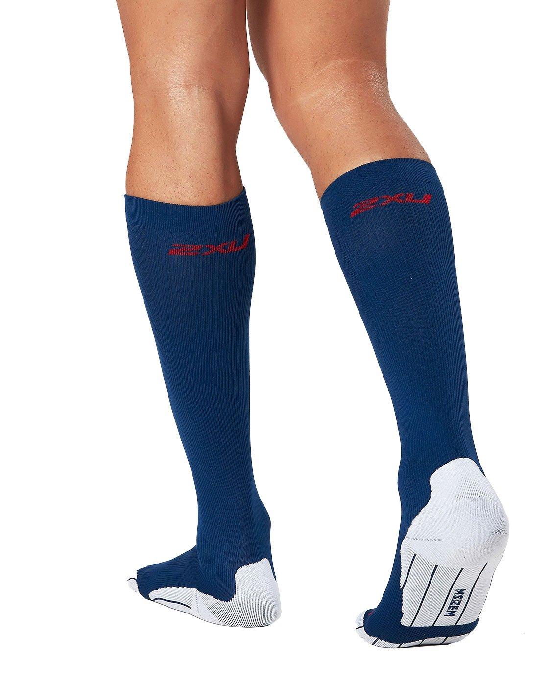 2XU Men's Compression Performance Run Socks, Navy/Red, X-Small by 2XU (Image #2)
