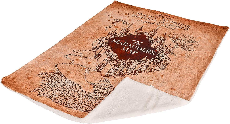 Harry Potter Carte de Couverture Polaire du Maraudeur avec Teddy Sherpa 200x150cm for/êt Elbe Beige