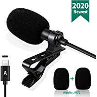 USB C Lavalier Lapel Microphone for Android System, Omnidirectional Phone Microphone Audio Video Recording, Easy Clip-on…