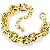 Gold Bracelets for Women - Lane Woods 14k Gold Plated Wide Cuban Curb Link Bracelet