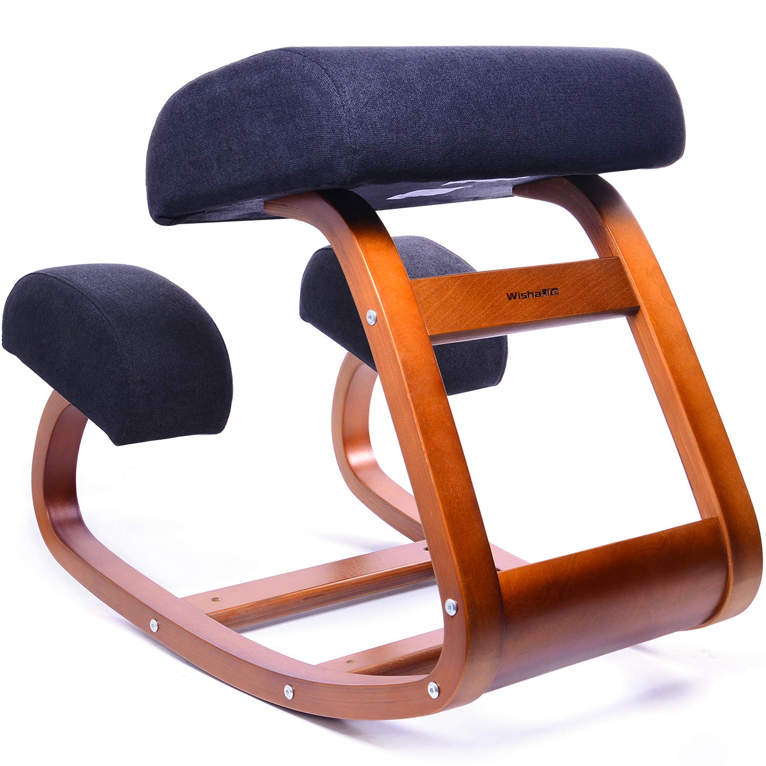 Ergonomic Office Chair, WishaLife Kneeling Chair Rocking Posture Wood Stool for Home Office & Desk Chair |Orthopedic Stool Relieving Back and Neck Pain & Improving Posture | Larger Seat,Thick Cushions by WishaLife