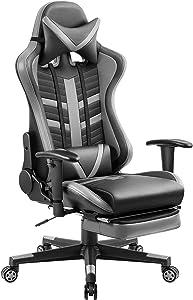 Homall Executive Desk Footrest Computer Swivel Office Headrest and Lumbar Support Ergonomic High-Back Racing Chair, Gray