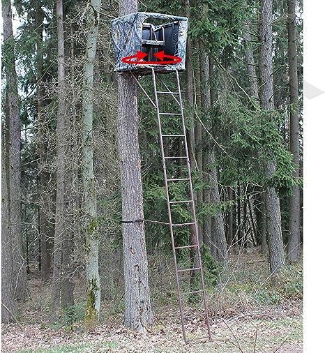 SUTTER Puesto de Caza de árbol transportable y una práctica Escalera de 5,4m / con Asiento Giratorio de 360°, Incl. Red de Camuflaje, Hecho de Acero Robusto: Amazon.es: Deportes y aire libre