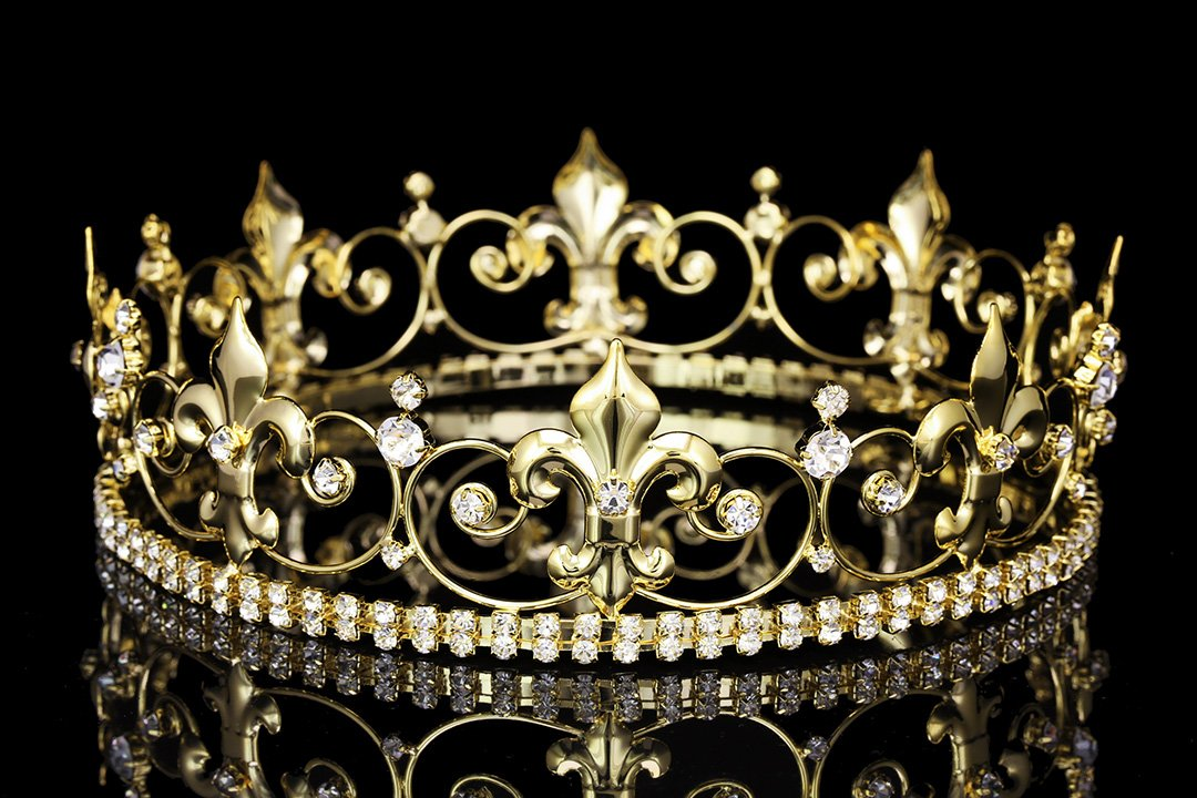 """Ornate 2"""" Tall Fleur De Lis Full King Crown - Gold Plated Clear Crystals T1017"""