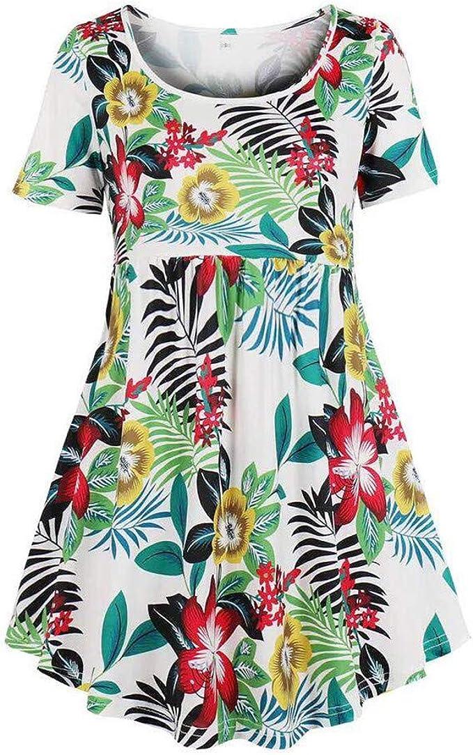 Changeshopping Womens Polka Dot Print Beach Dress Summer Holiday Floral Print Short Sleeve V Neck Sundress Mini Dress