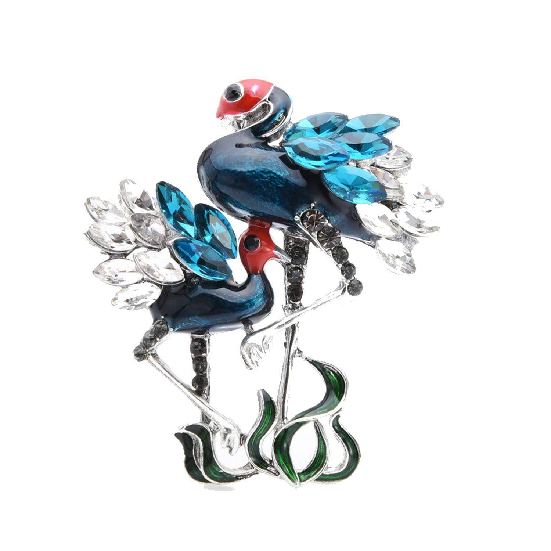Fashion Green Blue Birds Brooches For Women Men Rhinestone Personality Animal Brooch Pins