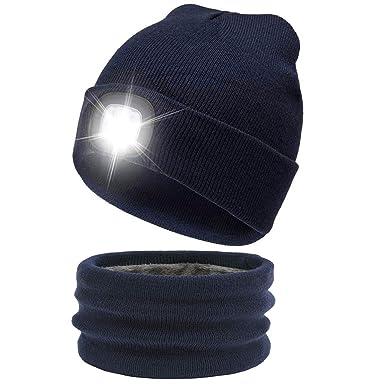 ATNKE Gorra de con luz LED cálida y Brillante Sombrero de Faro ...