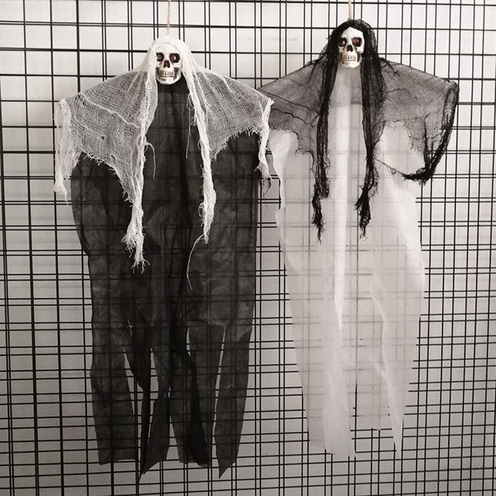 Puntello di Halloween Horror Appeso Scheletro Ghost 100cm x 50cm,Teschio Bianco Morbuy Scary Scheletro Fantasma Animato Decorazione Decorazioni per Bar da Festa in Giardino