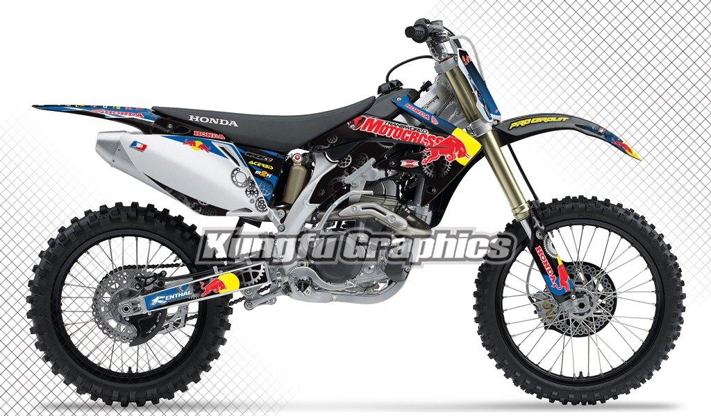 Kungfu Graphics Motocross Custom Decal Kit for Honda CRF450R 2008, Black White