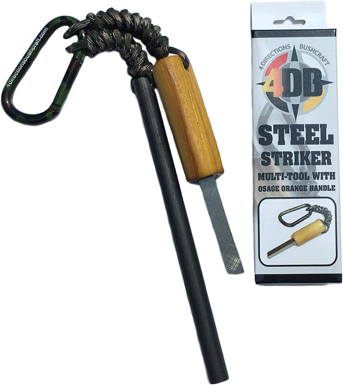 Ferro Rod Fire Starter Survival FireSteel 6x1//2 camo paracord striker scraper