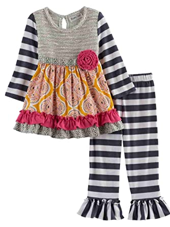 9b7298179e073b Image Unavailable. Image not available for. Color: Rare Too! Infant Girls  Gray & Yellow Floral Baby Outfit Shirt & Striped Leggings Set
