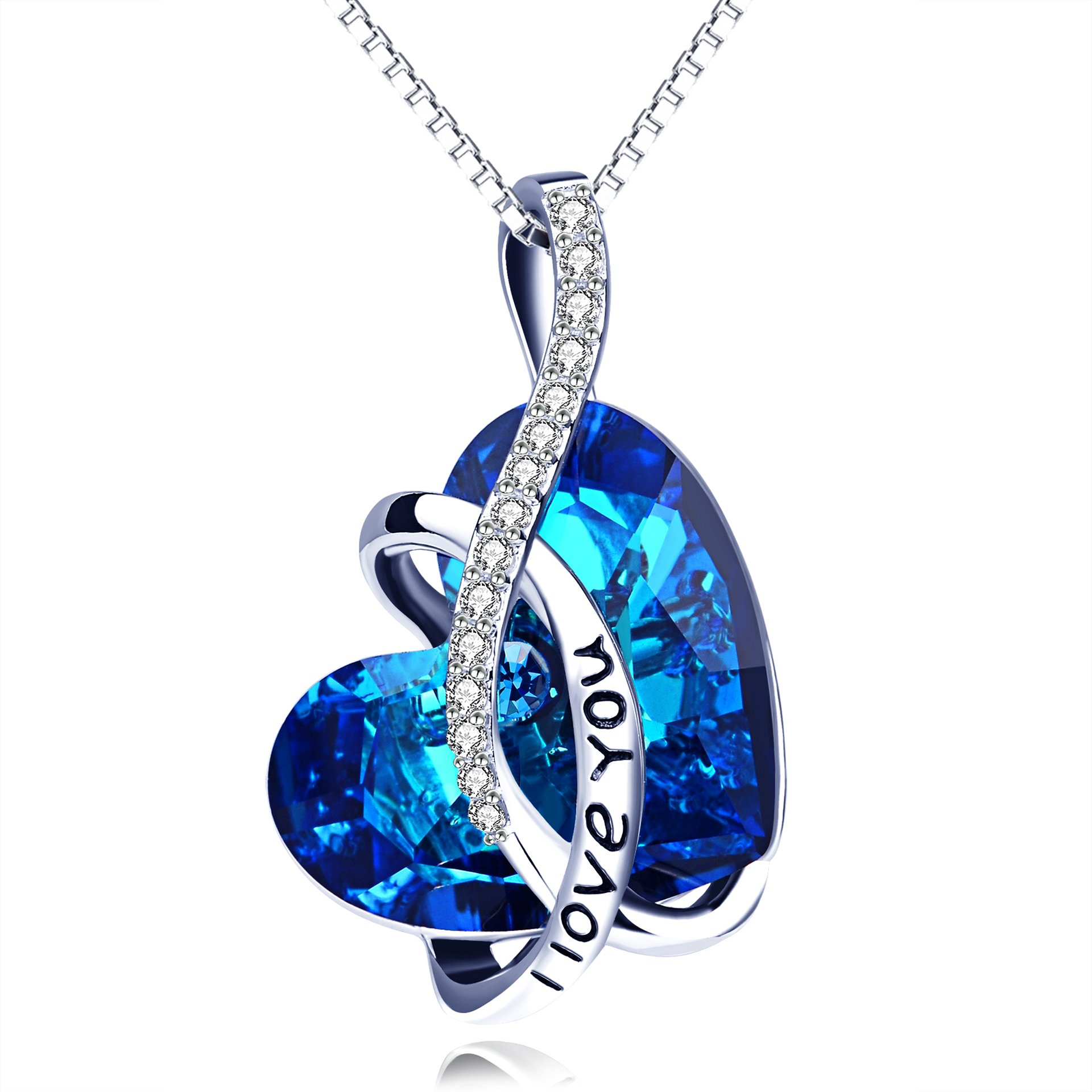 AOBOCO Jewelry I Love You Sterling Silver Heart Pendant Necklace for Girls with Blue Crystals from Swarovski Anniversary Birthday Gift for Women Girlfriend Wife Daughter Mother Sister Niece