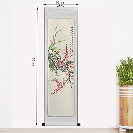 bb8828687 Traditional Chinese Painting Scroll – Hand Painted by Master Aiming Wu 30  Year Experience with Writing