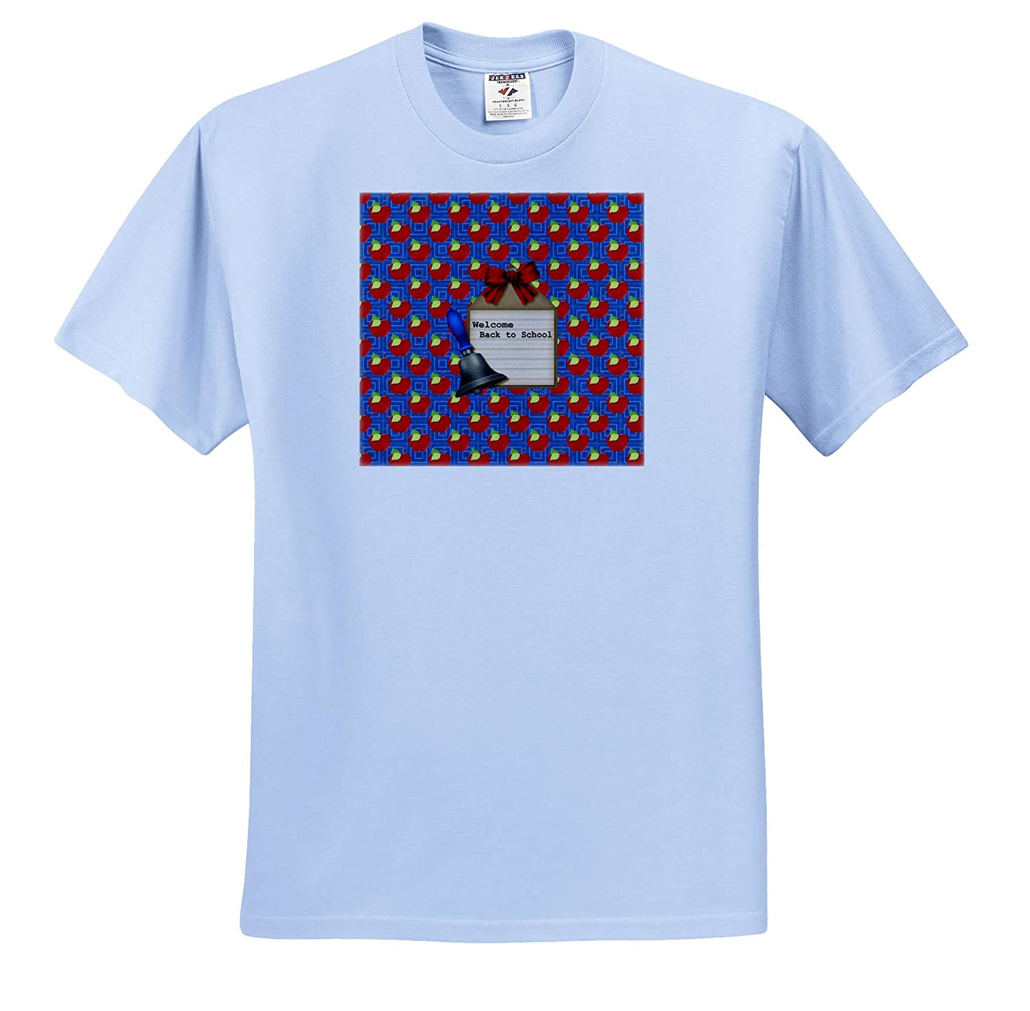 Apple and Square Design Bow Welcome Back to School T-Shirts 3dRose Beverly Turner Back to School School Bell