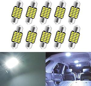 KATUR 31mm Festoon C5W Led Bulbs 6000K White Light Super Bright Chipsets Canbus Error Free for 3175 DE3175 DE3021 3022 3021 Interior Dome License Plate Door Lights (10pcs,White)