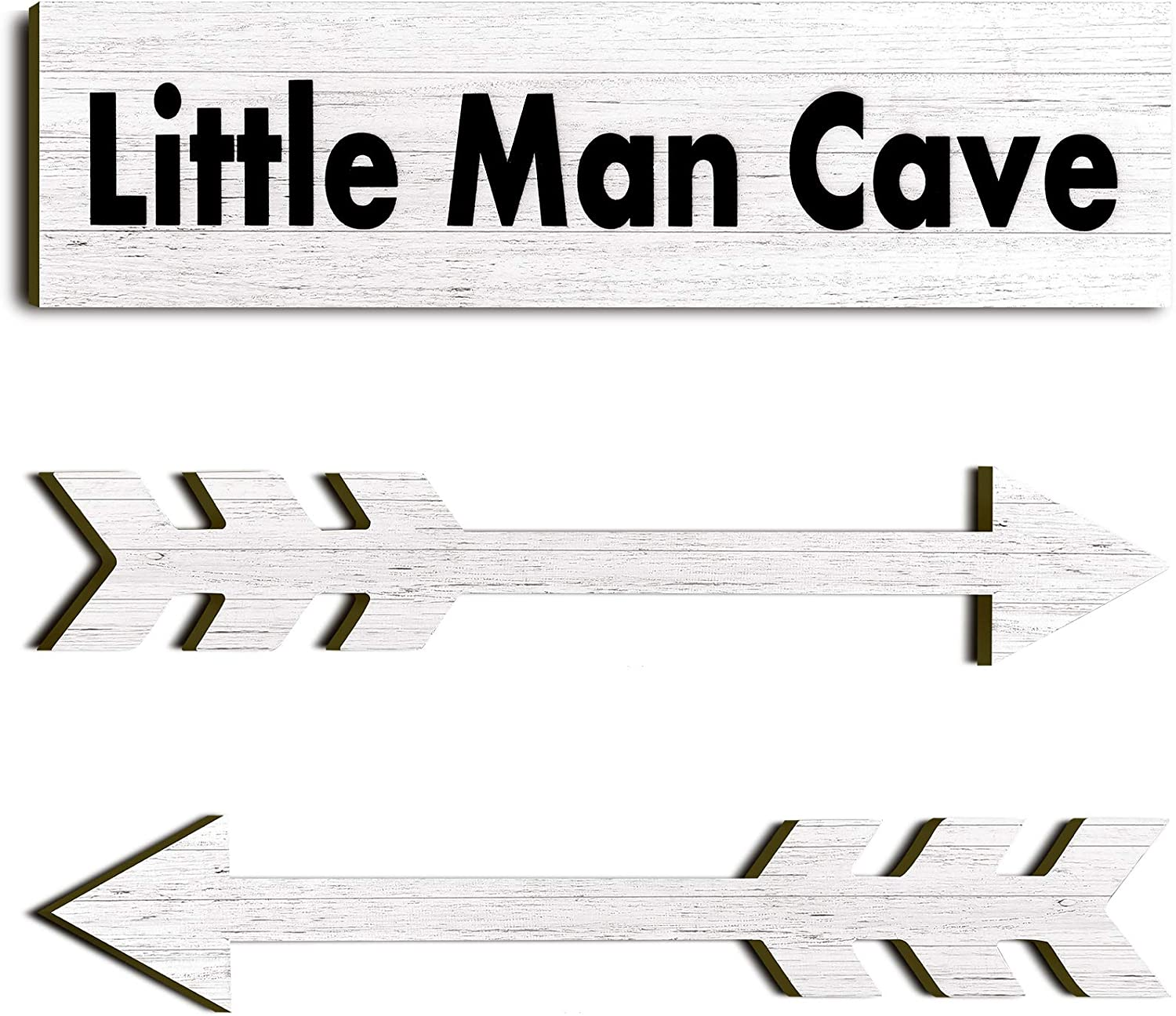 3 Pieces Little Man Cave Wood Sign Decor Toddler Boys Room Wood Wall Art Sign 15 x 4 x 0.2 Rustic Boys Nursery Wall Sign Decor Farmhouse Wooden Arrow Sign for Baby Home Bedroom Living Room (White)