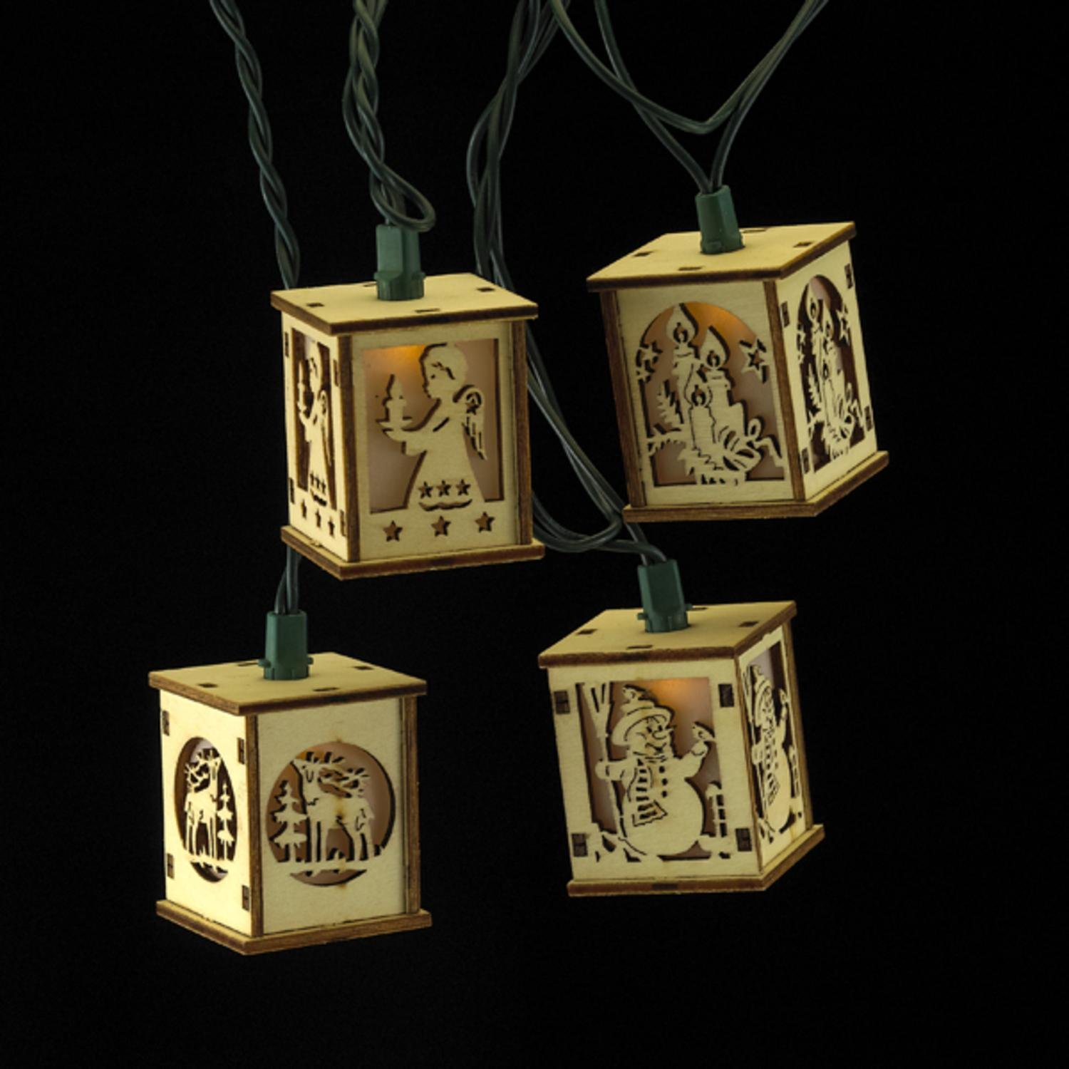 Set of 10 Holiday Wood Box Lantern Christmas Lights - Green Wire