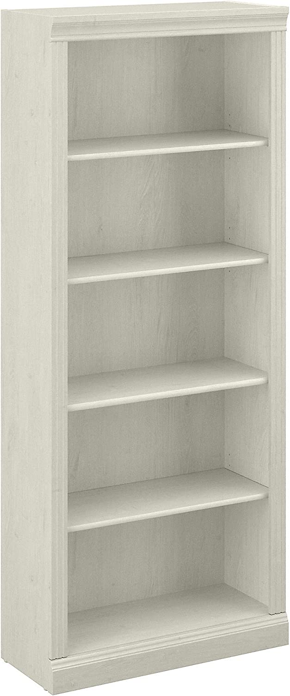 Bush Furniture Saratoga Tall 5 Shelf Bookcase, 30W, Linen White Oak