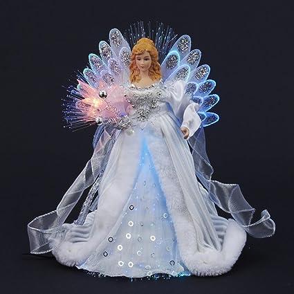 "KSA 12"" Elegant Silver and White LED Light Fiber Optic Angel Christmas  Tree Topper - Amazon.com: KSA 12"