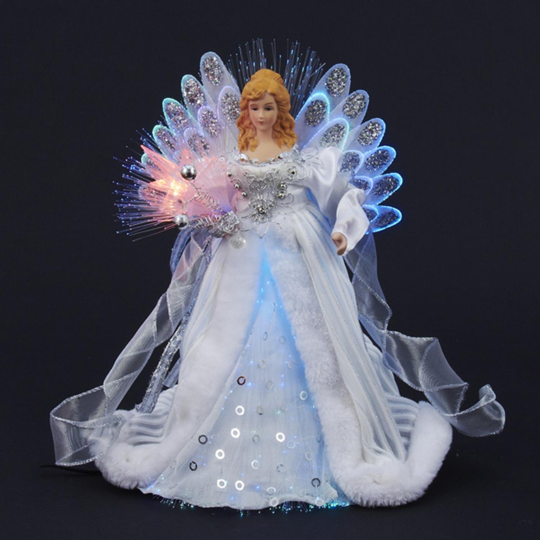 KSA 12'' Elegant Silver and White LED Light Fiber Optic Angel Christmas Tree Topper