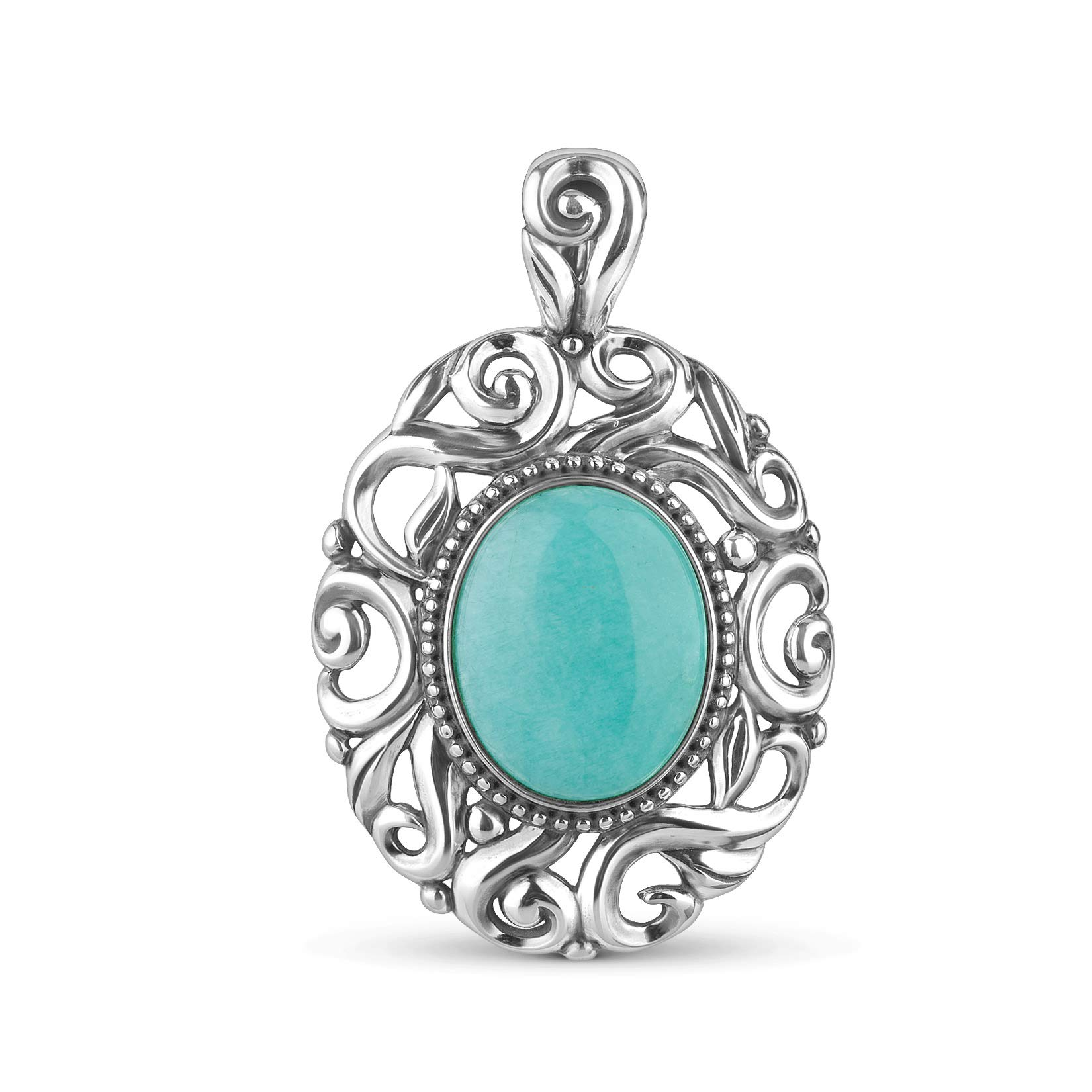 Carolyn Pollack Sterling Silver Blue-Green Peruvian Amazonite Swirl Pendant Enhancer by Carolyn Pollack