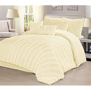 Townhouse Unique Home Hillary 7 Piece Comforter Set Bed in a Bag Bedding Comforter Duvet, Fade Resistance, Super Soft (Queen, Ivory)
