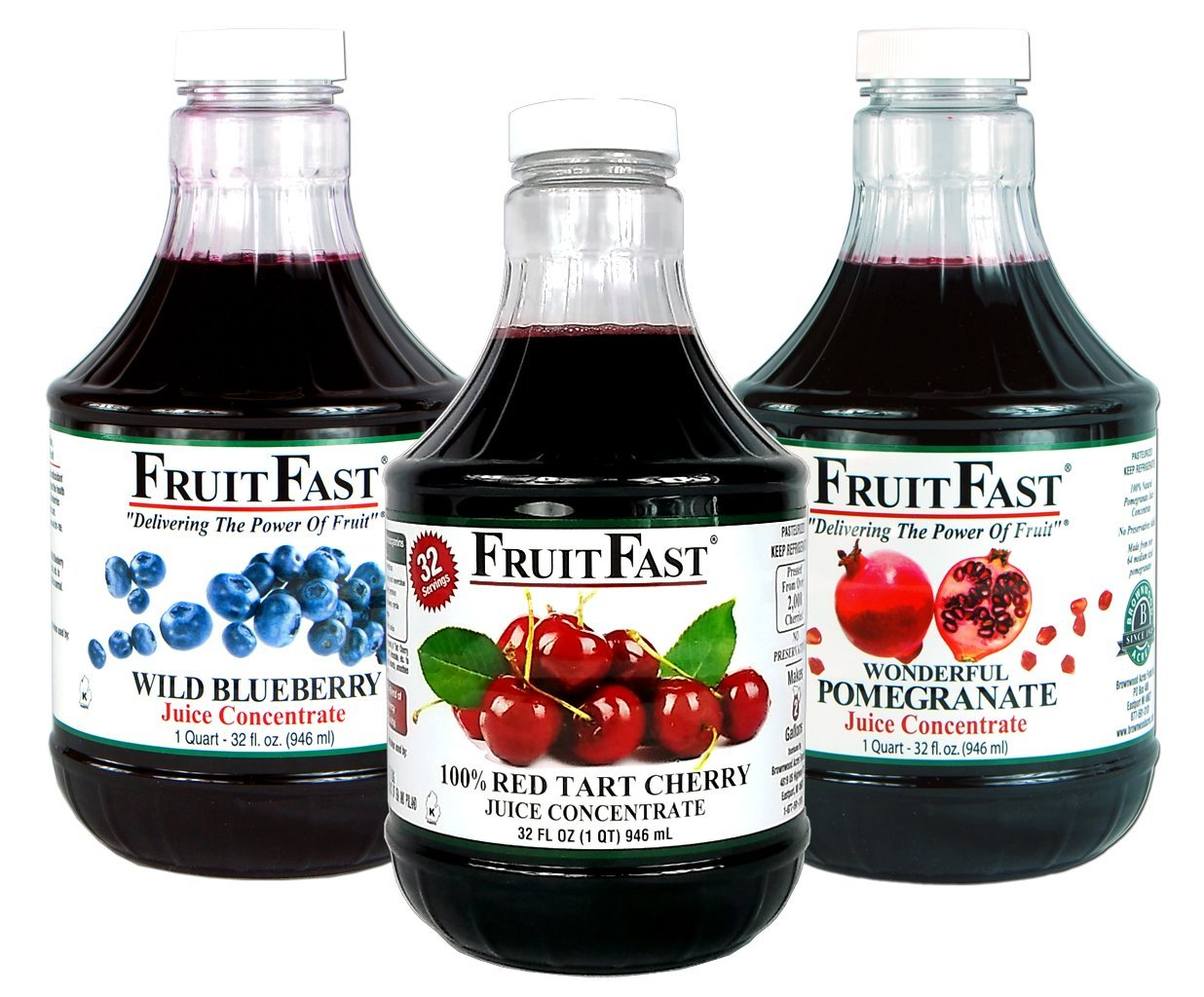 1 Quart Tart Cherry, 1 Quart Wild Blueberry & 1 Quart Pomegranate''Cold Filled'' Juice Concentrate - 3 Pack