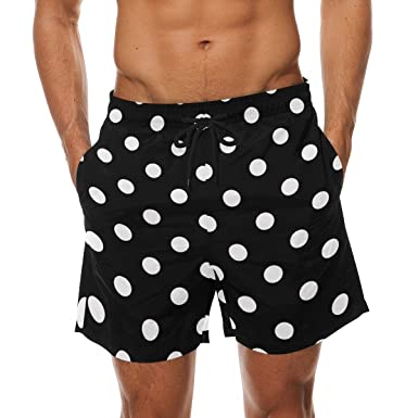 cab31e5e65 Image Unavailable. Image not available for. Color: DEYYA White Black Polka  Dot Summer Beach Shorts Pants Men's Swim ...