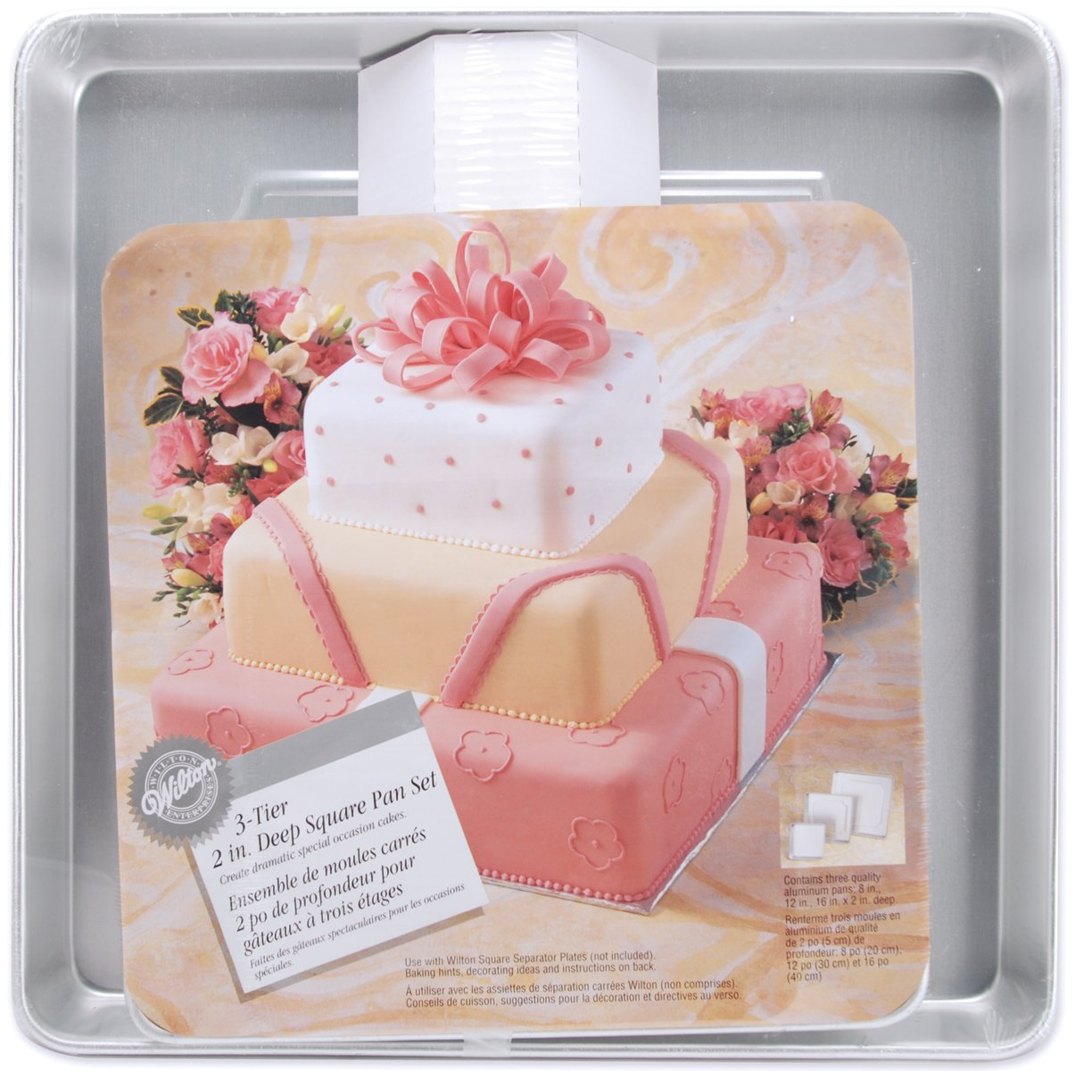 Wilton Performance Pans Square Cake Pans Set, 3 Piece - 8, 12 and 16-Inch Cake Pans by Wilton