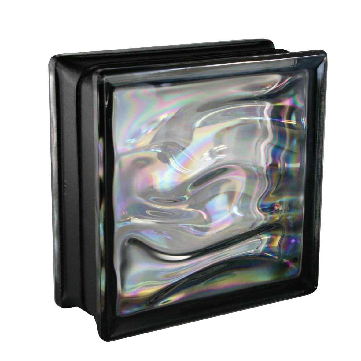 6 piè ces BM briques de verre AQUA nacre noir 19x19x8 cm Fuchs Design