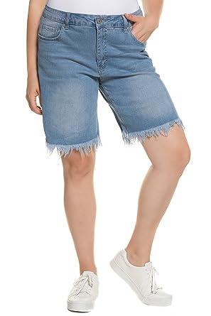 9595fdf791 Ulla Popken Women's Plus Size Denim Fringe Shorts. Denim Blue 16 712159 92