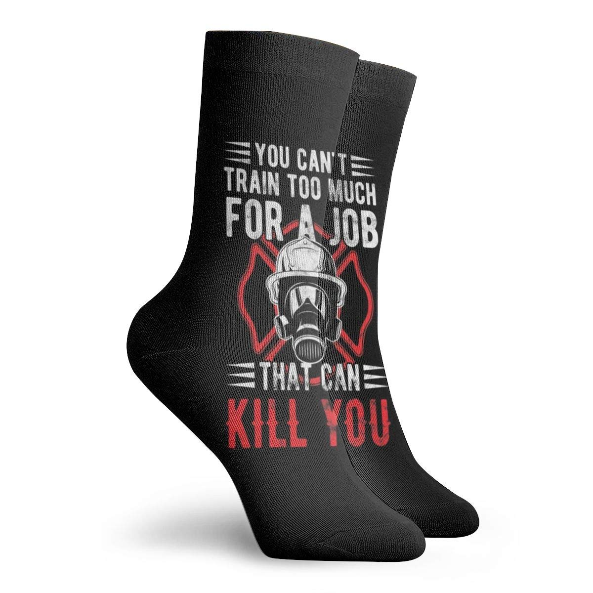 Cotton Crew Socks For Men Women Casual Socks With Retro Firefighter Fireman Quote Print