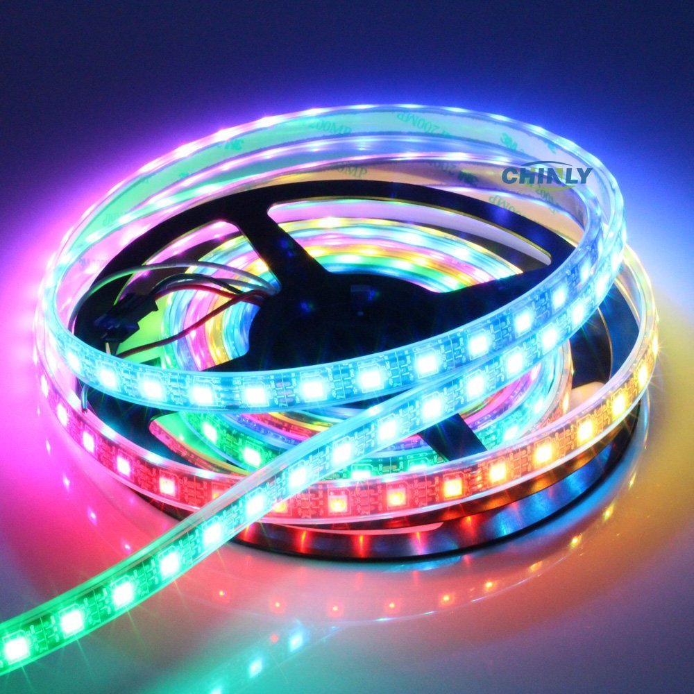 CHINLY 16.4ft WS2812B Individually Addressable LED Strip Light 5050 RGB SMD 300 Pixels Dream Color Waterproof IP67 Black PCB 5V DC (Black PCB 16.4ft 300leds waterproof)