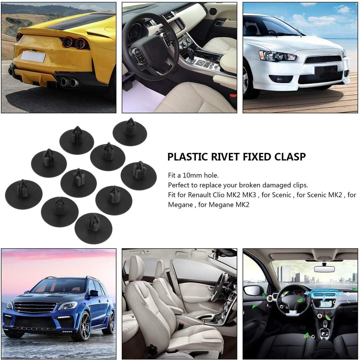 Rouku 10 PCS Porte Pare-Chocs Fender Couverture Automobile Fixation en Plastique Auto Trim Clip Rivet Auto Attaches Convient pour Toyota pour Renault