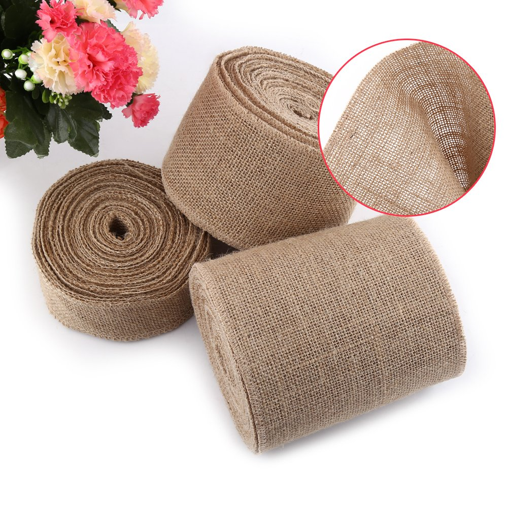 Rollo de cinta de yute natural de arpillera de lino de arpillera de 5 cm/10 cm/15 cm de ancho, para decoración del hogar, 15 cm: Amazon.es: Hogar