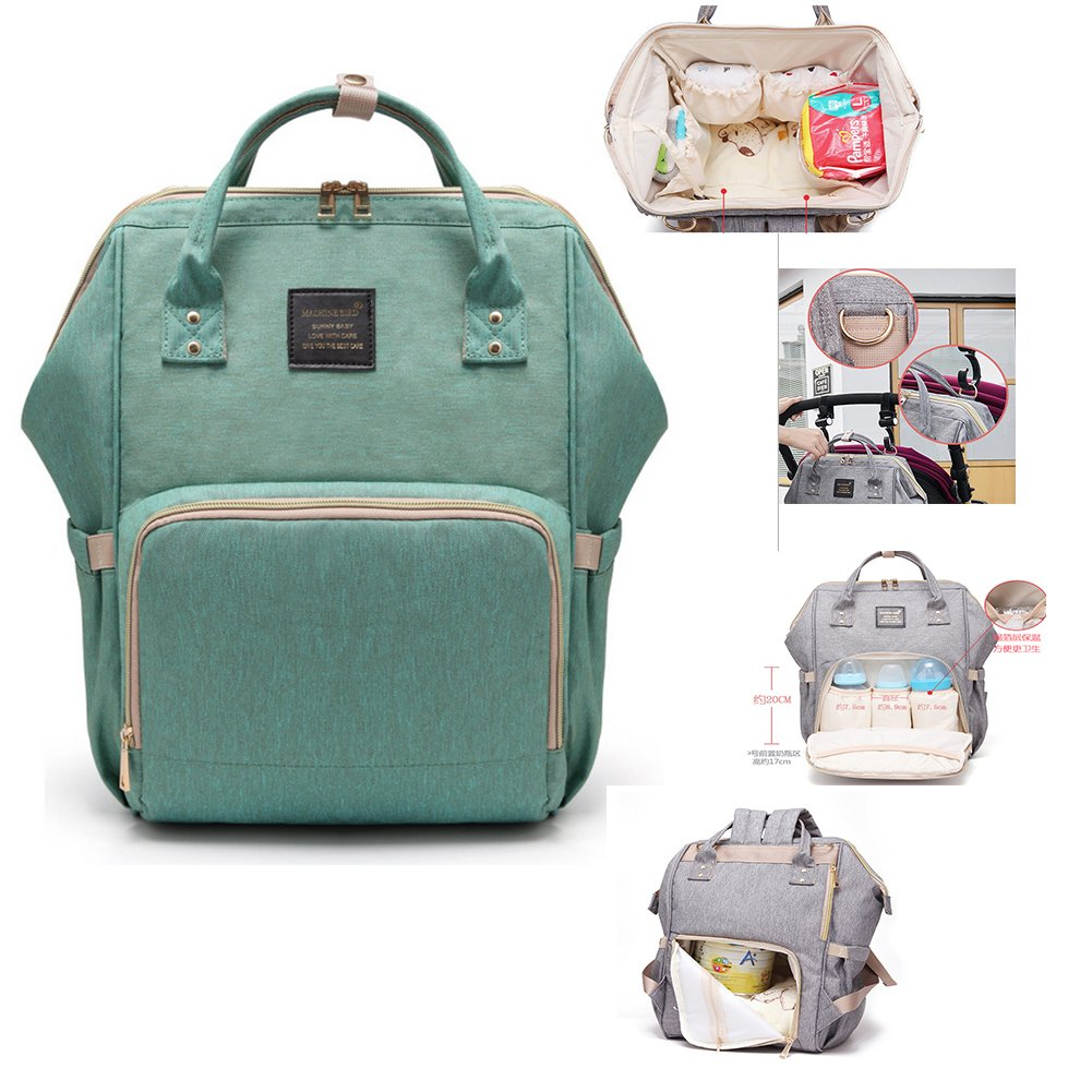 Diaper Bag, Multi-Function Waterproof Nappy Bags for Baby Care Large Capacity Travel Backpack (Green)