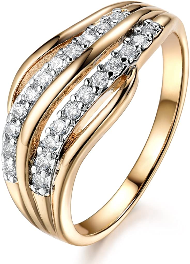 GULICX White Cubic Zirconia Yellow Gold Tone Micro Pave Statement Rings Elegant for Women