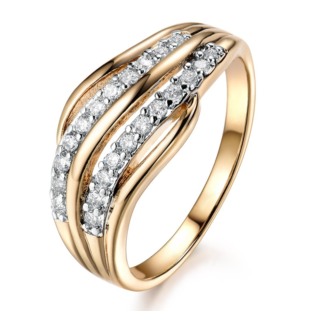 GULICX White Cubic Zirconia Yellow Gold Tone Micro Pave Statement Rings Elegant for Women Gelei Jewelry Co. Ltd. R592