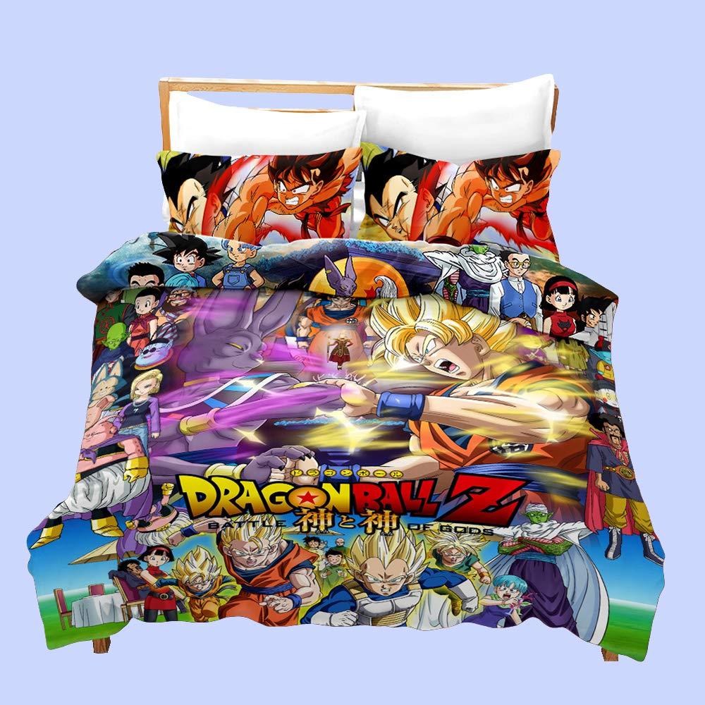 Dragon Ball Juego de Funda de Edred/ón Chicas y Chicos 3D Impresi/ón 3 Piezas Funda N/órdica Juegos de Fundas para Edred/ón y Funda de Almohada LZ1,140 * 210cm KIACIYA Funda N/órdica Dragon Ball