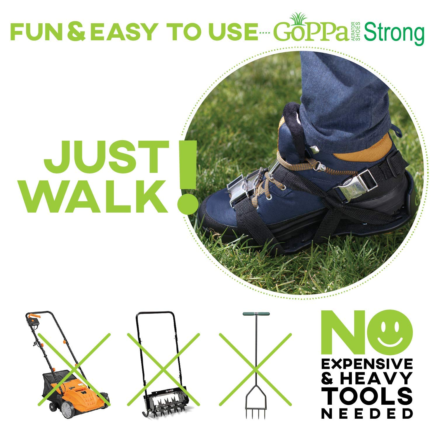 GoPPa Lawn Aerator Shoes – Heavy Duty Lawn Aerator Sandal, You only FIT Once. Ready for aerating Your Yard, Lawn, Roots & Grass – Strong Design by GoPPa (Image #3)