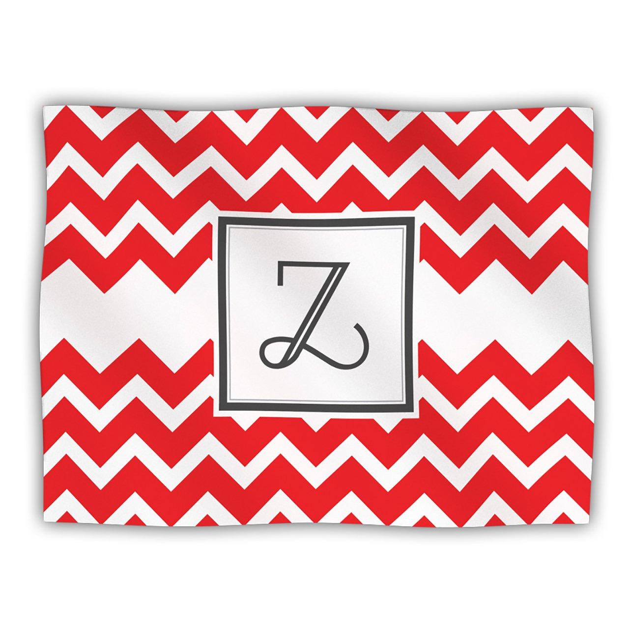 Kess InHouse KESS Original 'Monogram Chevron Red Letter Z' Dog Blanket, 40 by 30-Inch